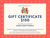 Music Together Online Gift Certificate